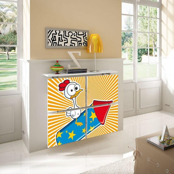 Children's Radiator Cabinet Cover CARTOON Rocket Duck design Kids Bedroom Nursery Playroom-Radiator Covers > Floating Radiator box & Shelf > Children Design Heater Cabinets > Radiator Casing for Kids Safety > Nursery Radiator Casing > Playroom Radiator> Made toMeasure > Custom Designs Cover-RadiatorCoversShop.com