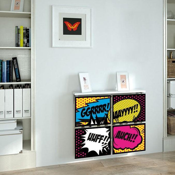 Children Teens Floating Radiator Cabinet Cover RETRO COMIC designs for Kids Bedroom Nursery Playroom-Radiator Covers > Floating Radiator box & Shelf > Children Design Heater Cabinets > Radiator Casing for Kids Safety > Nursery Radiator Casing > Playroom Radiator> Made toMeasure > Custom Designs Cover-RadiatorCoversShop.com