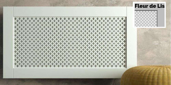 Traditional White Radiator Heater Covers with Classic Fleur de Lis decorative grille frame inset-Radiator Covers > Panel Radiator Covers > Classic Radiator Covers > Designer Radiator Cover > Custom Made Radiator Covers > Heater Grill Covers > Clip on Panel Covers > Made to Measure Radiator Cover-RadiatorCoversShop.com