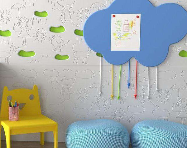 Kids CLOUDS design decorative board wall panel for Children's Bedroom Nursery Playroom-Headboards > Wall Protection > Kids Headboards > Children Bedroom Headboards-RadiatorCoversShop.com