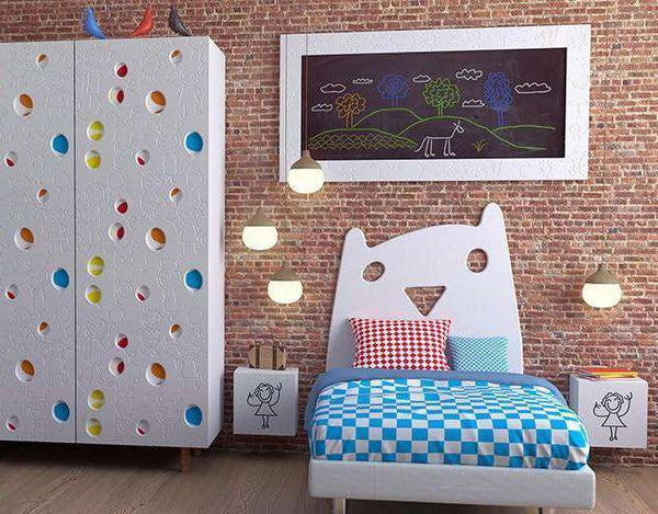 Kids KITTY design single bed decorative Headboard panel for Children's Bedroom Nursery Playroom-Headboards > Wall Protection > Kids Headboards > Children Bedroom Headboards-RadiatorCoversShop.com