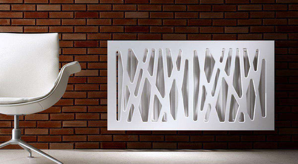 SALE Radiator Heater Cover with Futuristic GEO Design WHITE 90cm-Radiator Covers > Panel Radiator Covers > Modern Radiator Covers > Designer Radiator Cover > Custom Made Radiator Covers > Heater Grill Covers > Clip on Panel Covers > Made to Measure Radiator Cover-RadiatorCoversShop.com