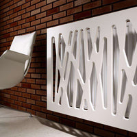 Radiator Heater Cover with Futuristic GEO Design WHITE 70 80 90 100 110 120 130 140 150 160 170 180-Radiator Covers > Panel Radiator Covers > Modern Radiator Covers > Designer Radiator Cover > Custom Made Radiator Covers > Heater Grill Covers > Clip on Panel Covers > Made to Measure Radiator Cover-RadiatorCoversShop.com