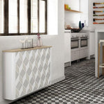 Modern Floating Radiator Heater Cover NORDIC MOSAIC Metal Cabinet design flush wood top Ref RCNR237-Radiator Covers > Floting Radiator Cabinets > Drawer Radiator Cover > Modern Radiator Covers > Designer Radiator Covers > Custom Made Heater Cover > Wall Mounted Covers > Made toMeasure Radiator Cover-RadiatorCoversShop.com