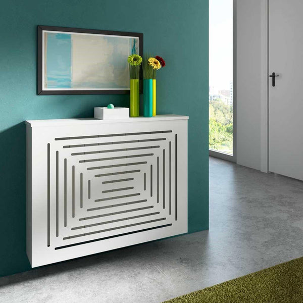 Modern Floating Radiator Heater Cover GEOMETRIC CENTRAL X Cabinet Box Design with Shelf Ref RCGE246-Radiator Covers > Floting Radiator Cabinets > Shelf Radiator Cover > Modern Radiator Covers > Designer Radiator Covers > Custom Made Heater Cover > Wall Mounted Cover > Made toMeasure Radiator Cover-RadiatorCoversShop.com