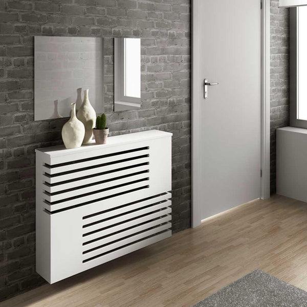 Modern Floating Radiator Heater Cover GEOMETRIC CORNER LINE Cabinet Design with Shelf Ref RCGE241-Radiator Covers > Floting Radiator Cabinets > Shelf Radiator Cover > Modern Radiator Covers > Designer Radiator Covers > Custom Made Heater Cover > Wall Mounted Cover > Made toMeasure Radiator Cover-RadiatorCoversShop.com