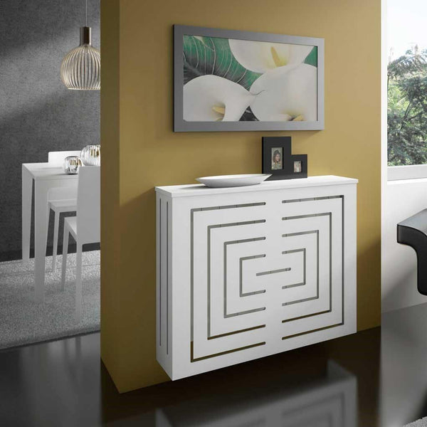 Modern Floating Radiator Heater Cover GEOMETRIC REFLEXION Cabinet Box Design with Shelf Ref RCGE244-Radiator Covers > Floting Radiator Cabinets > Shelf Radiator Cover > Modern Radiator Covers > Designer Radiator Covers > Custom Made Heater Cover > Wall Mounted Cover > Made toMeasure Radiator Cover-RadiatorCoversShop.com