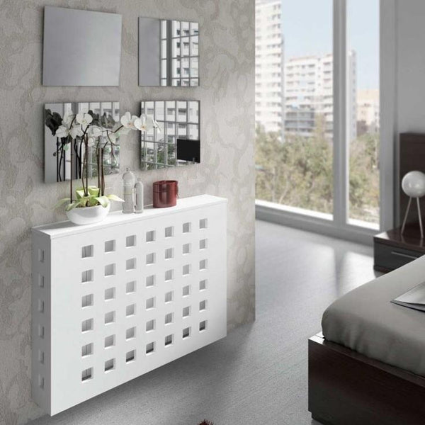 Modern Floating Radiator Heater Cover GEOMETRIC SQUARES Cabinet Box Design with Shelf Ref RCGE243-Radiator Covers > Floting Radiator Cabinets > Shelf Radiator Cover > Modern Radiator Covers > Designer Radiator Covers > Custom Made Heater Cover > Wall Mounted Cover > Made toMeasure Radiator Cover-RadiatorCoversShop.com