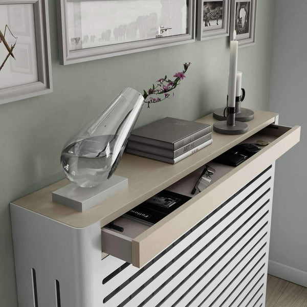 Modern Floating Radiator Heater Cover NORDIC STRIPE Metal Box design with wooden drawers Ref RCNR230-Radiator Covers > Floting Radiator Cabinets > Drawer Radiator Cover > Modern Radiator Covers > Designer Radiator Covers > Custom Made Heater Cover > Wall Mounted Covers > Made toMeasure Radiator Cover-RadiatorCoversShop.com