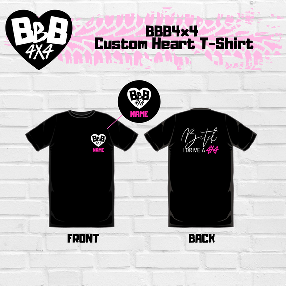 BBB4X4 Custom Heart T-Shirt | Pink