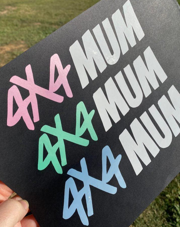4X4 Mum Decal - Pearl & White