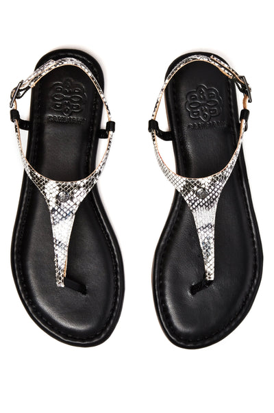 Black sandal with snake straps