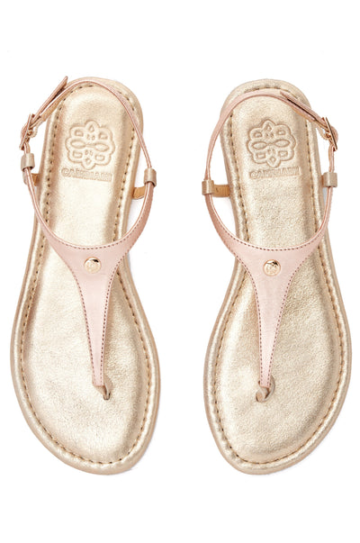 Champagne sandal with rose gold straps