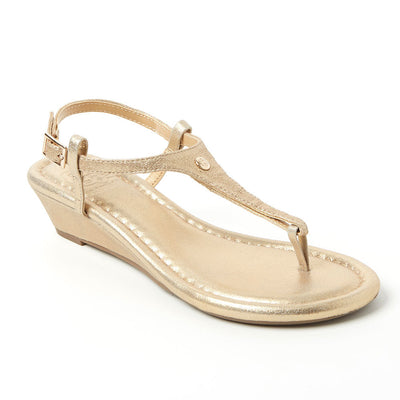 Champagne Leather Wedge