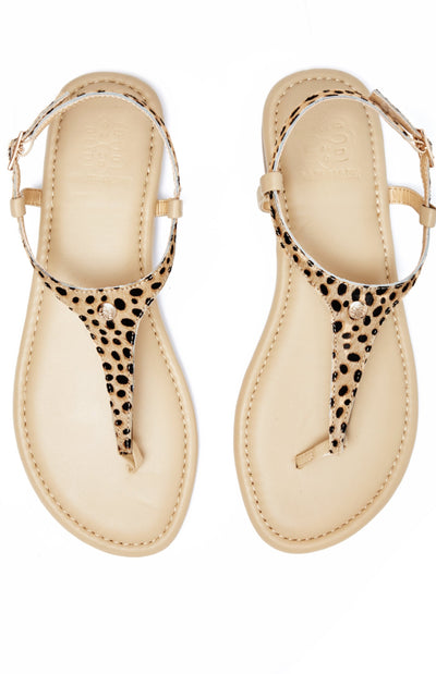 Tan sandal with Leopard Pony Hair