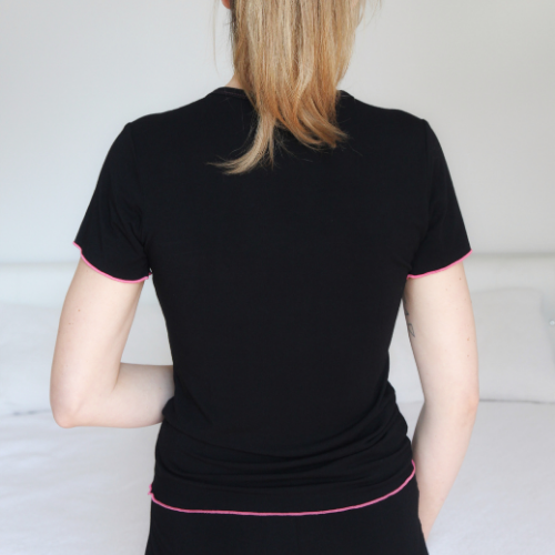Tee, T-shirt, Black, Loungewear, Sleepwear, soft, ultra soft, sustainable production, enhanced breathability, breathability, Tencel, Modal, Made in Canada, Mimi Island Designs, female, women, mothers, daughters, buttery soft, ultra soft