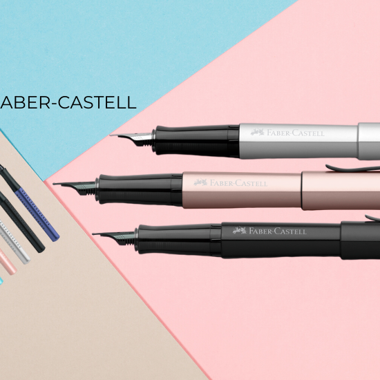 Faber-Castell Fountain pens. Hexo Rose Fountain pens, Hexo Silver Fountain Pen and Hexo Black Fountain pen