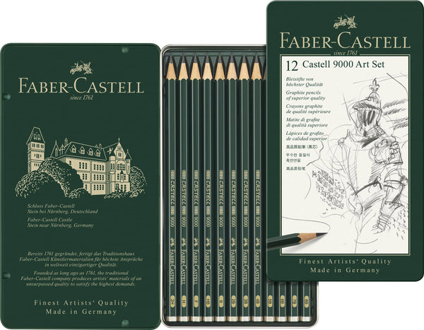 Graphite Pencil Castell 9000 Art Set, Tin of 12 - Blesket Canada
