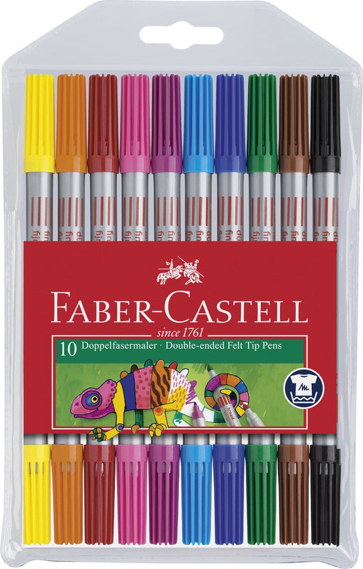 Double-Ended Felt Tip Pens Assorted colour Wallet of 10 - Blesket Canada
