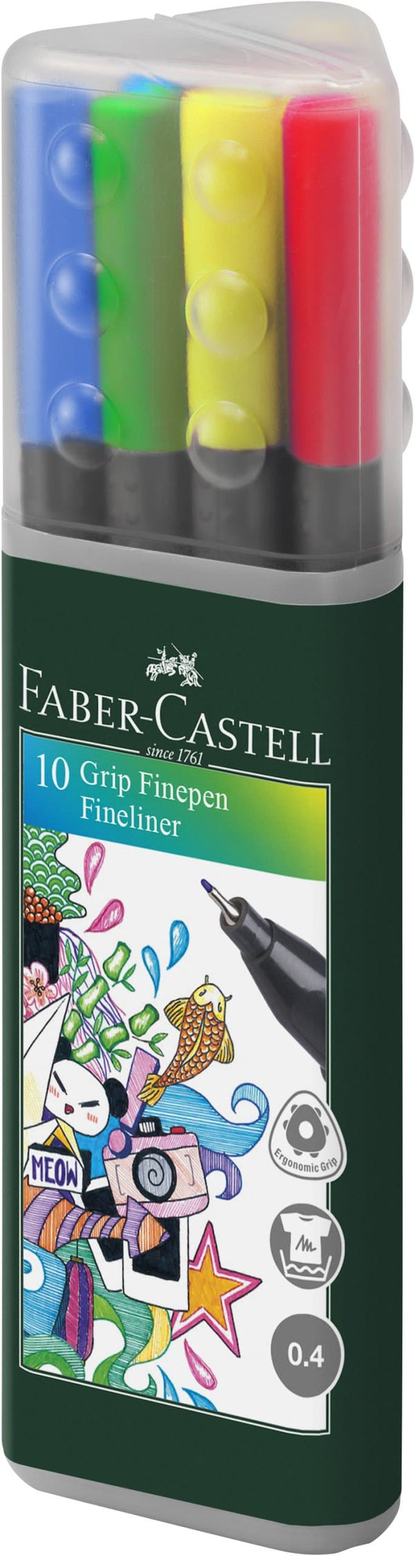 Grip Finepens Colour Assorted Triangular Case of 10