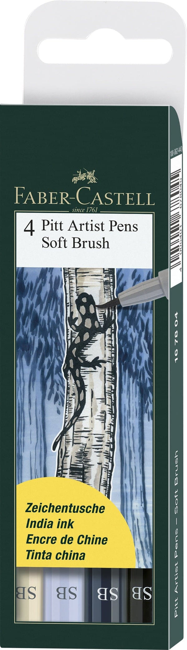 Pitt Artist Pen India Ink Soft Brush Grey Wallet of 4 - Blesket Canada
