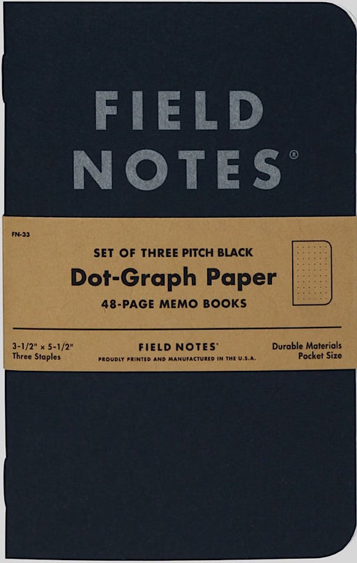 Field Notes 3-Pack Pitch Black Memo Book Dotted - Blesket Canada