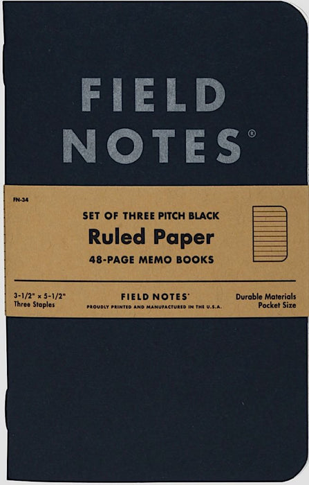 Field Notes 3-Pack Pitch Black Memo Book Ruled