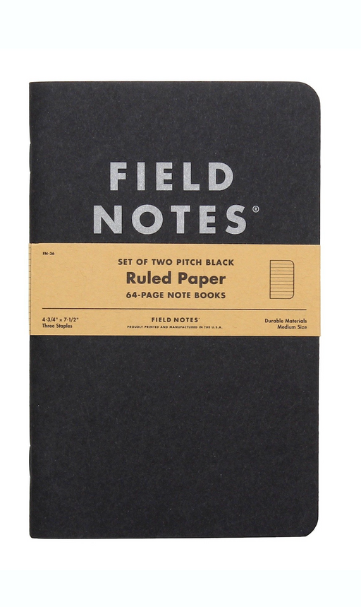 Field Notes 2-pack Pitch Black Note Book Ruled- Blesket Canada