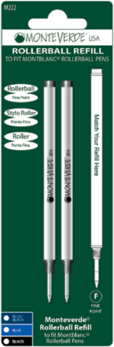 Monteverde USA Rollerball Refills  to fit Montblanc Pens- Fine (2 pcs) - Blesket Canada
