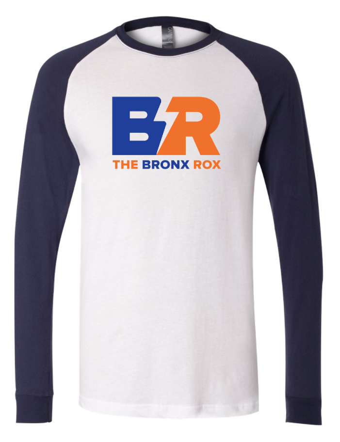 MEN'S WHITE/NAVY LONG SLEEVE BASEBALL TEE