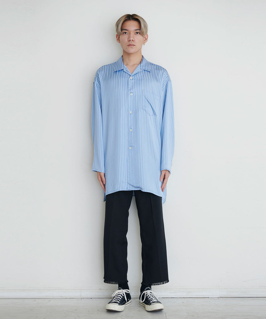 予約商品|Satin Stripe Long Shirts