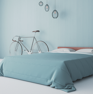 blue bed and bike