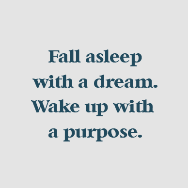 fall asleep with a dream. wake up with a purpose