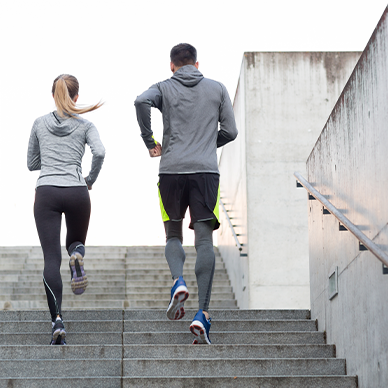 man and women on a run