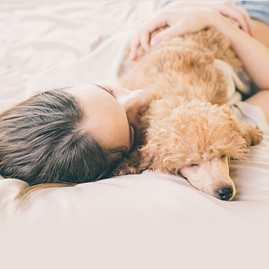 women and puppy on bed