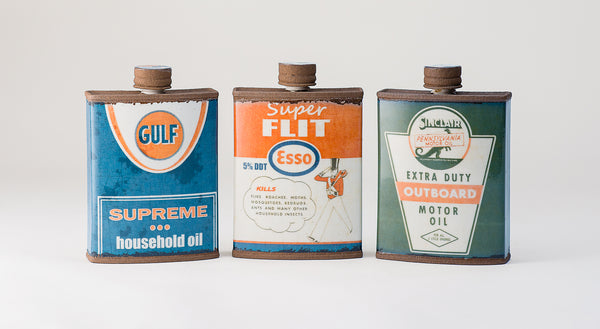 Mitchell Spain Ceramic Gulf, Flit and Esso Flasks