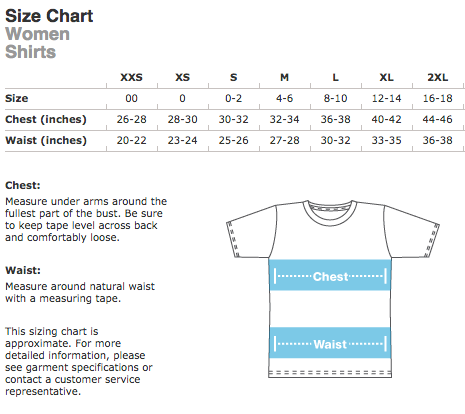 American Apparel Ladies T-shirt Size Chart