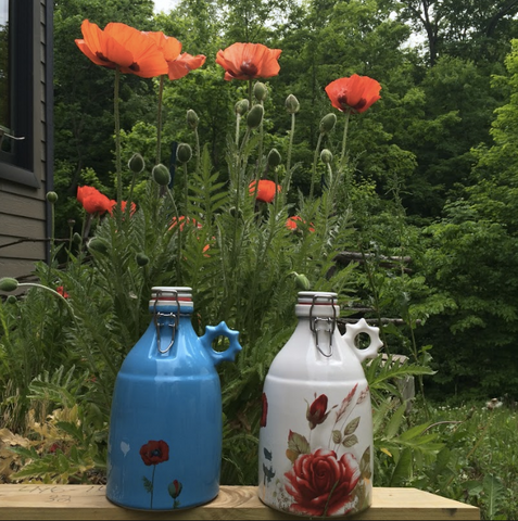 Ceramic Poppy Growlers