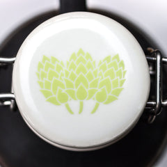 Flip Top Growler Lid with White Hops Decal