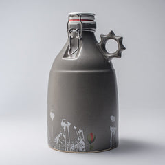Justin Rothshank 64oz Grey Poppy Growler with Sprocket Handle - Front View