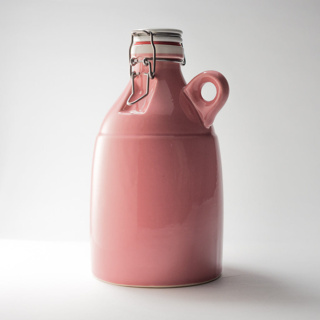 64 ounce Ceramic Pink Loop Growler