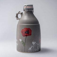 Justin Rothshank 64oz Grey Poppy Growler with Sprocket Handle - Back