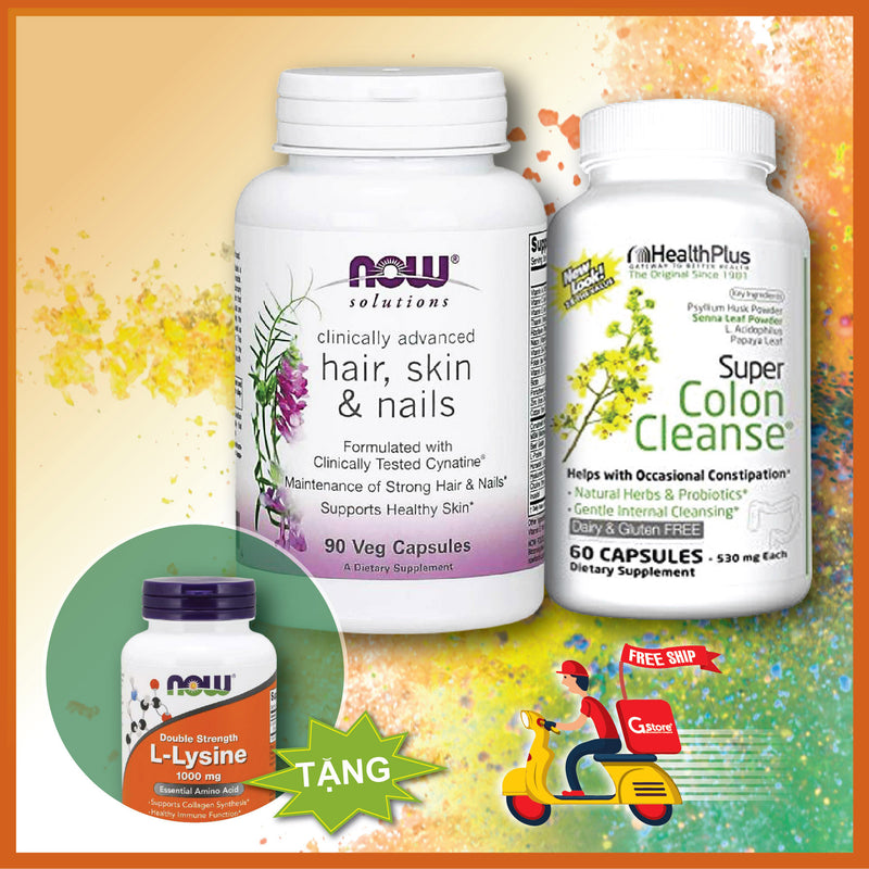 Mua NOW Hair, Skin & Nail (90 Viên) + Super Colon Cleanse (60 Viên) | Tặng NOW L-Lysine 1000mg (100 Viên)