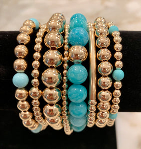 SARAH 8 Bracelet Stack with Turquoise