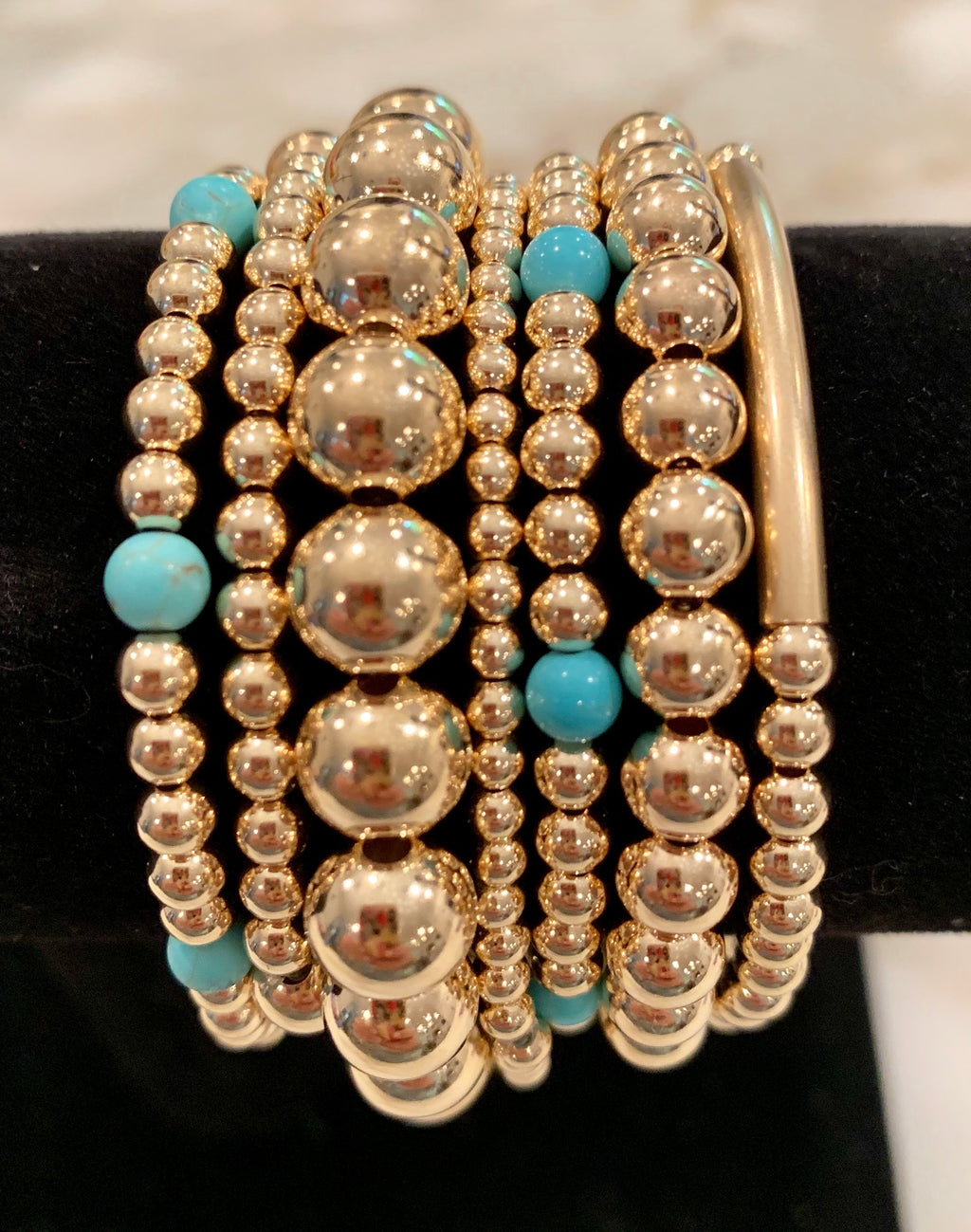HEATHER 7 Bracelet Stack with Turquoise Beads