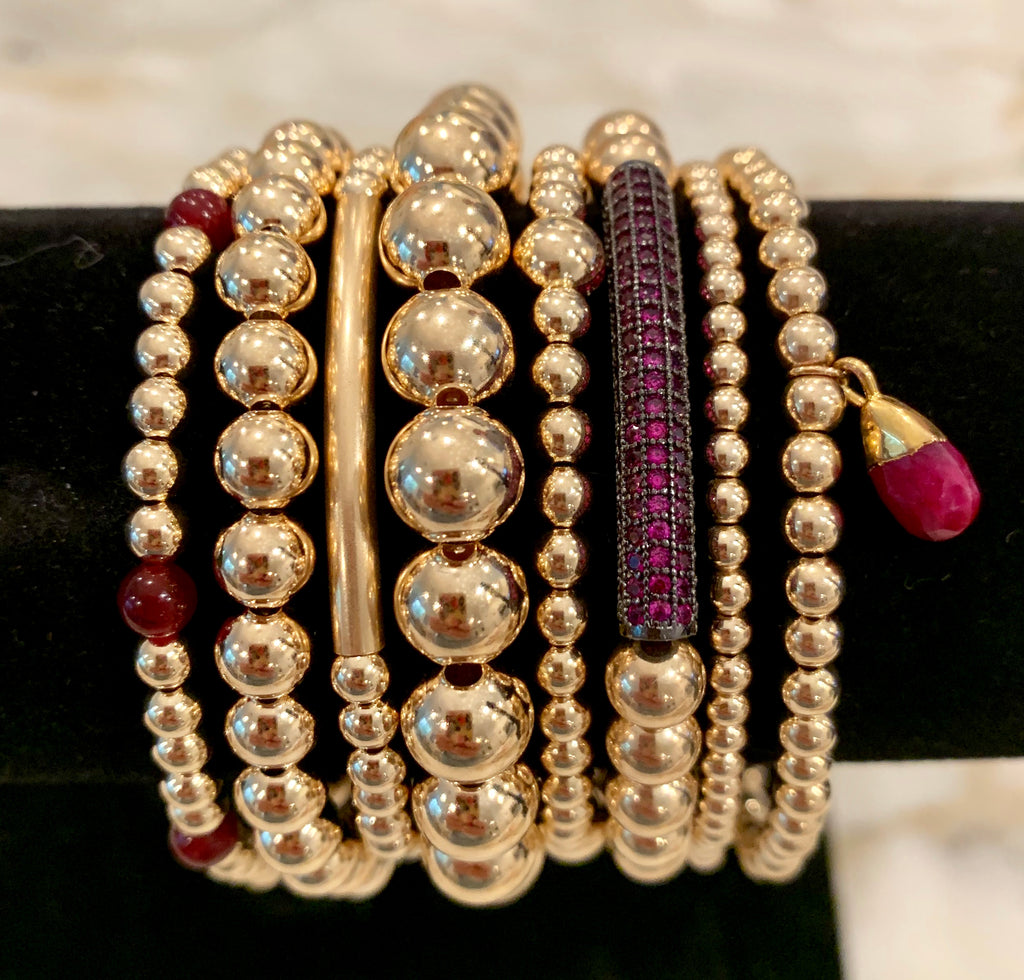 JULIA 8 Bracelet Gold Stack with Black Ruby Bar & Ruby Hang Charm
