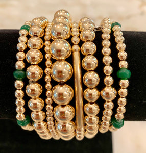 KIKI 8 Bracelet Gold Stack with Emerald Beads