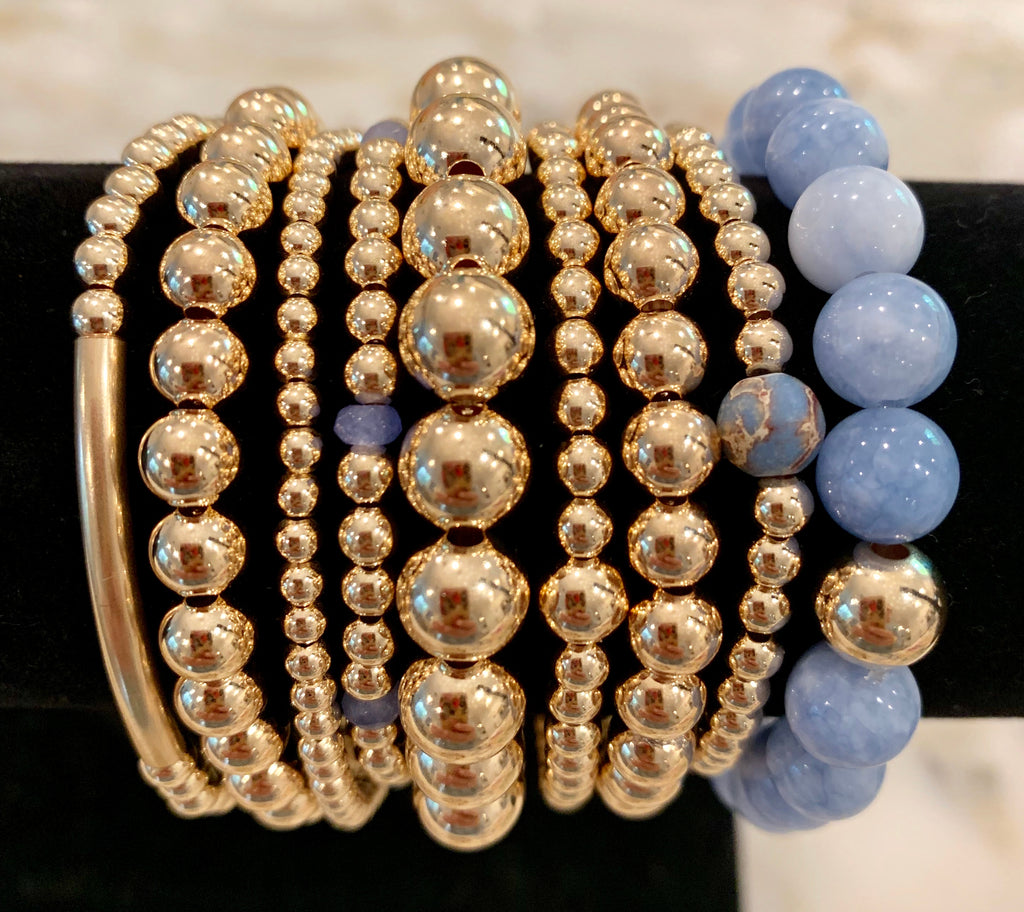 LILLY 9 Bracelet Stack with Chalcedony & Jasper Beads