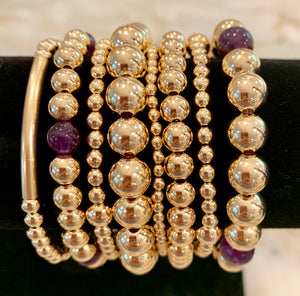 AMY 8 Bracelet Stack with Purple Amethyst Beads