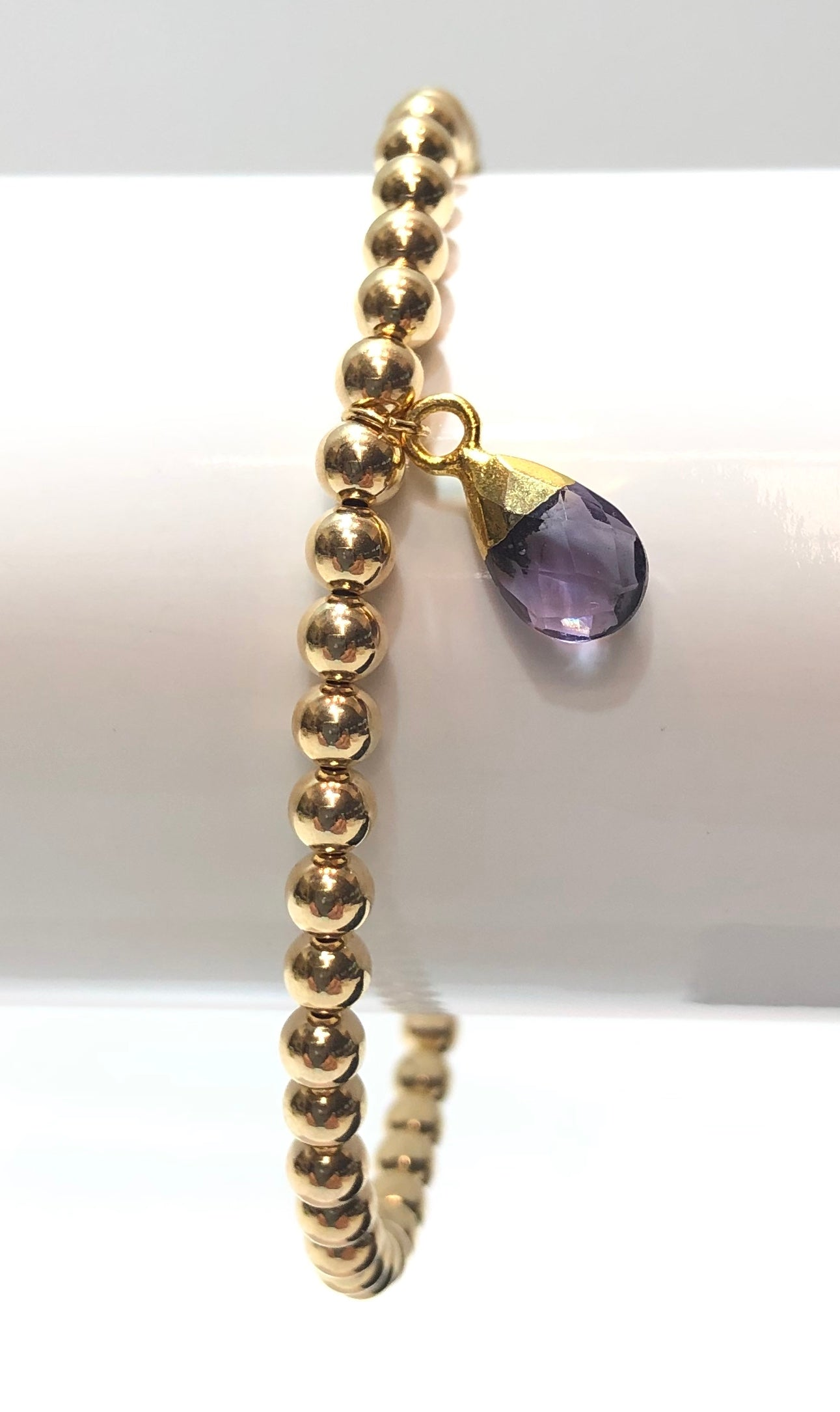 4mm 14k Gold Filled Bracelet with Colored Hanging Amethyst Jewel Charm